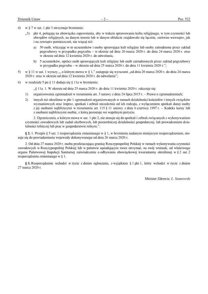 rozporządzenie w sprawie ograniczeń w poruszaniu się wydane przez Ministra Zdrowia